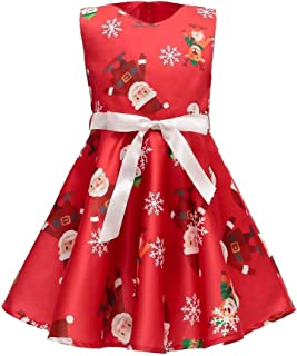 Anglewolf Toddler Kids Baby Baptism Dresses for Girls Princess Wedding Dress Birthday Party Girl Shirt Tops Outfit Clothes Set Infant Christmas Print Romper Xmas Outfits
