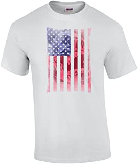 American Flag with Faded Skull Adult T-Shirt-Sportsgray