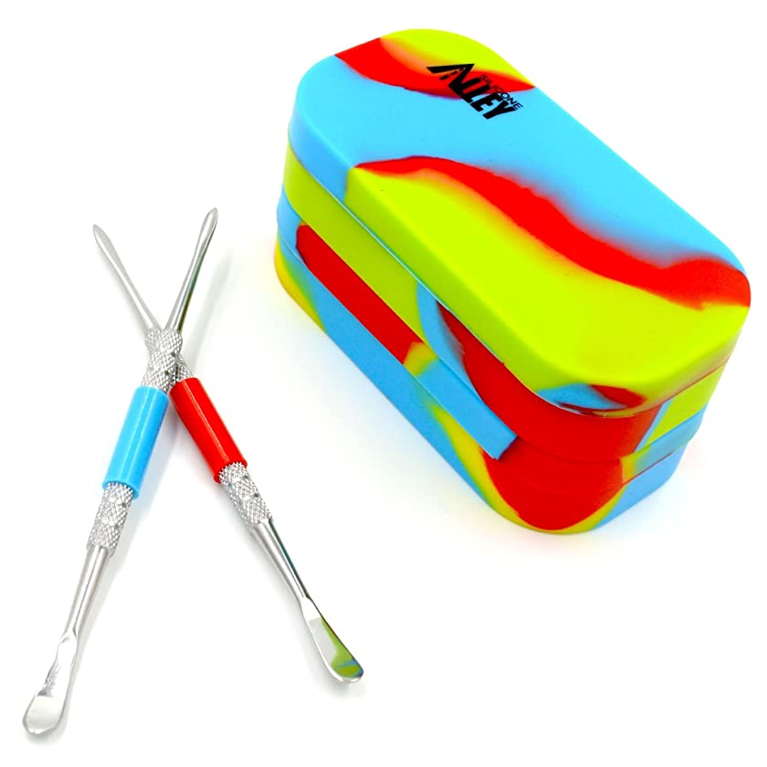 SILICONE ALLEY Nonstick Block Kit - Stainless Steel Carving Tool (2) + Tie Dye-Colored Multi-Compartment Wax Container (2)