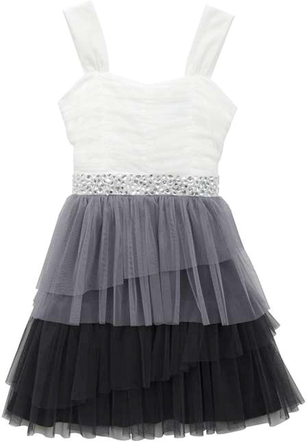 Rare Editions Big Girls Four Tier Ruffle Mesh Dress 7