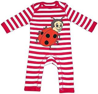 HARIZ HARIZ Baby Strampler Streifen Marienkäfer Kleeblatt Tiere Kindergarten Plus Geschenkkarten Feuerwehr Rot/Washed Weiß 3-6 Monate