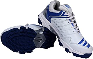 CW All Rounder FIRE Fly Men's Cricket Sports Shoes in PU with Rubber Sole Light Weight Color (White Red & White Blue)