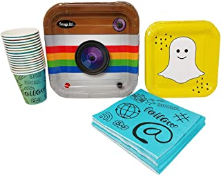 Social Media Party Supplies (65+ Pieces for 16 Guests!), Birthday, Tableware, Whether You're a Fan of Facebook, Snapchat