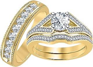 cz gold wedding sets