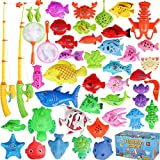 Max Fun Magnetic Fishing Toys Game Set with Pole Rod Net, Plastic Floating Fish Learning Education Fishing Bath Toys for Kids Age 3 4 5 (Small)
