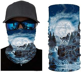 DUOLIFU Cool Wolf Lion Print Bandana Balaclava Face Mask Neck Gaiter Scarf Headband for Men Women