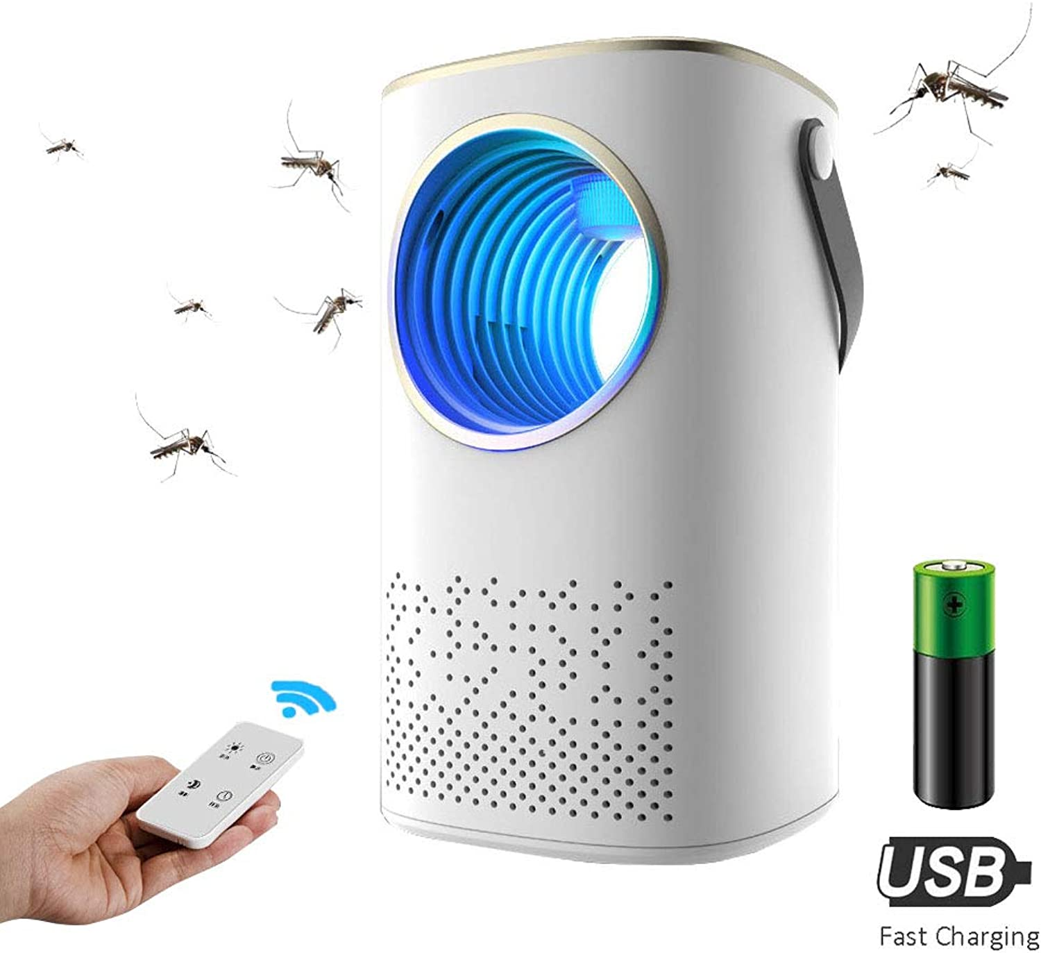 Portable USB Mosquito Killer Lamp,Camping Lantern Tent Light, with 2000 Mah Rechargeable Battery, Remote Control, Timing,White