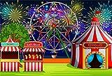 Cassisy 1,5x1m Vinilo Circo Telon de Fondo Rayas Blancas Rojas Carpas de Circo Fuegos Artificiales...