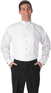 Premium Men's Tuxedo Long Sleeve Shirt Banded Collar