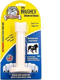 Bullibone Brusher: Dog Teeth Cleaning Brushing Toothbrush Stick - Long Lasting Nylon Peppermint Dog Dental Chew Toy for Or...