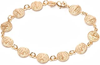 Barzel 18K Gold Plated Gold Religious Bracelet with Saint Benedict Coins
