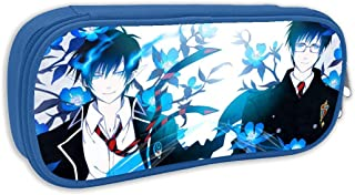 Multi-Function Double Zipper Pen Bag for Preschool, Blue Exorcist Anime Okumura Rin and Yukio Brothers Poster Toiletry Makeup Bag, Fashion Storage Pouch for Unisex Adult