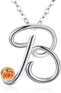 Initial Letter Necklace for Women Girls, Sterling Silver Cursive Script Name Pendant, Alphabet Personalized Charm Jewelry Gift from A-Z