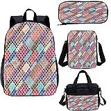 Juego de mochila escolar moderna de 17 pulgadas y bolsa de almuerzo, puntos y formas de patchwork 4 en 1 conjuntos de mochila