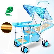 HBIAO Silla de Paseo con Respaldo reclinable Cochecito de bebé de Verano luz de imitación Rota Puede Sentarse en la Silla de caña bebé 0-1-3 niño de bambú Coche Infantil,Green