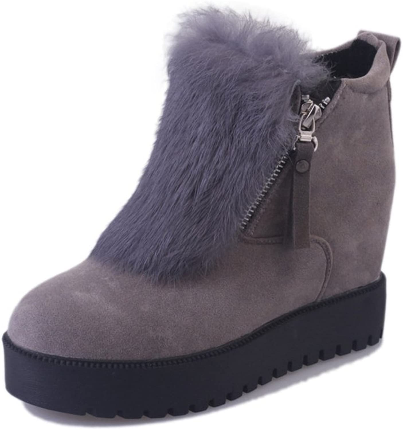 Huhuj Korean winter and cashmere women's shoes Thick-soled boots warm non-slip shoes High boot for a short tube student