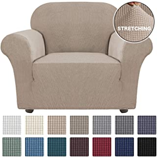 Turquoize Stretch Chair Slipcover Sofa Cover Furniture Protector Cover for Living Room Sofa Couch Cover Chair Covers with Elastic Bottom, Checked Jacquard Thick Fabric Machine Washable (Chair, Khaki)
