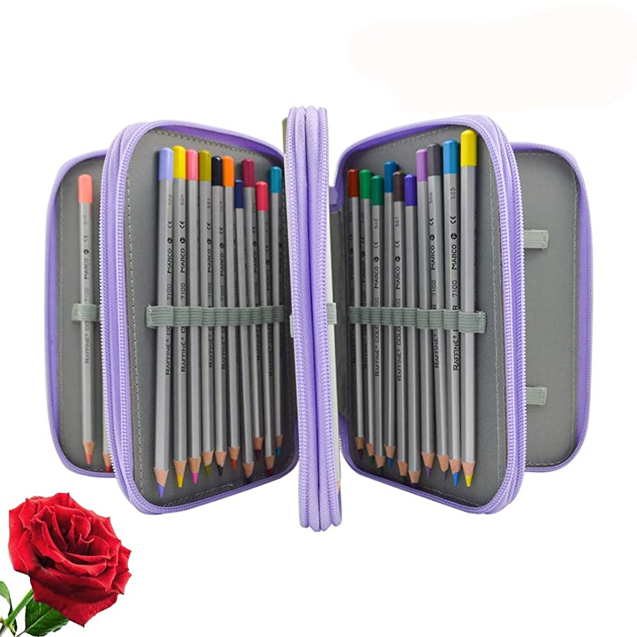 Painting Pencils Case with Zipper 72 Holder Art Pen Case Canvas Protection Drawing Case (Purple)