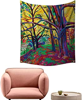 alsohome Tapestry Blanket Hanging Tapestry for Bedroom Mod Funk Art Style Painting of A Colorful Forest in The Spring 60