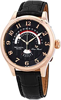 Lucien Piccard Men's The The Capital Stainless Steel Japanese-Quartz Watch with Leather-Calfskin Strap, Black, 22 (Model: LP-40050-RG-01)