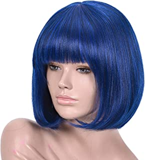 Annivia Navy Blue Short Bob Wigs for Women 12'' Synthetic Straight Wigs with Bangs Color: Black with Blue Highlights (Navy Blue)