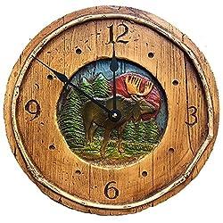 Piazza Pisano Rustic Moose Cabin Decor Wall Clock