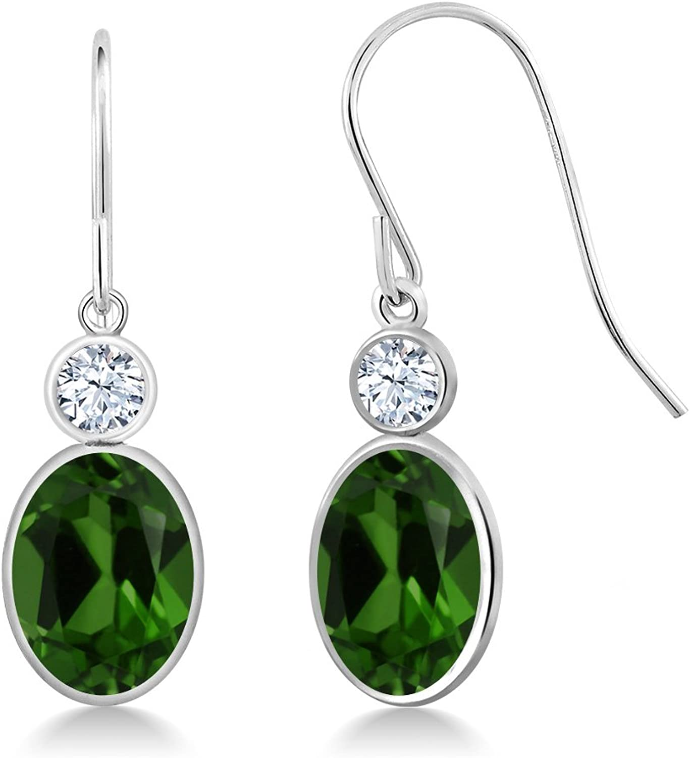 2.62 Ct Oval Green Chrome Diopside 14K White gold Earrings