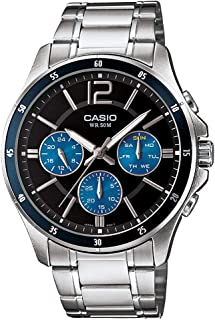 Casio Men's Quartz Watch with Black Dial Analogue Display Quartz Stainless Steel MTP 1374D 2A