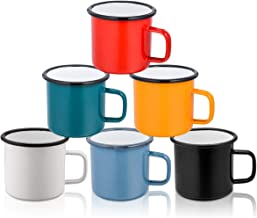 TeamFar Coffee Mug, 12 oz Tea Enamel Mug Camp Drinking Cups, White/Blue/Green/Black/Red/Yellow Vintage for Indoors and Outdoors, Non Toxic & Portable, Attractive Color & Classic Design - Set of 6