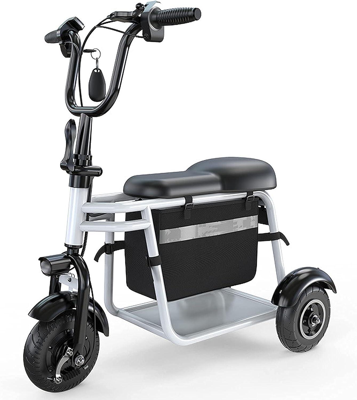 FHKBK Scooter de Movilidad de 3 Ruedas - Dispositivo de Silla de Ruedas móvil eléctrico para Adultos Scooters de Movilidad de batería de Litio Plegables y compactos Ligeros