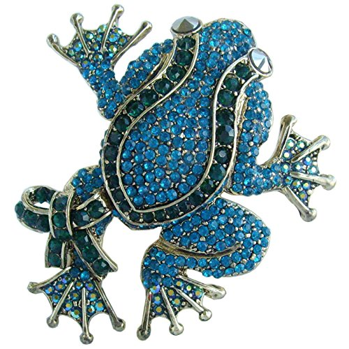 Sindary 3.54' Animal Frog Brooch Pin Pendant Austrian Crystal UKB5853 (Gold-Tone Turquoise)