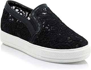 Bonrise Women Fashion Laces Low Top Flat Sneakers Platform Increased Height Slip On Casual Sports Shoes