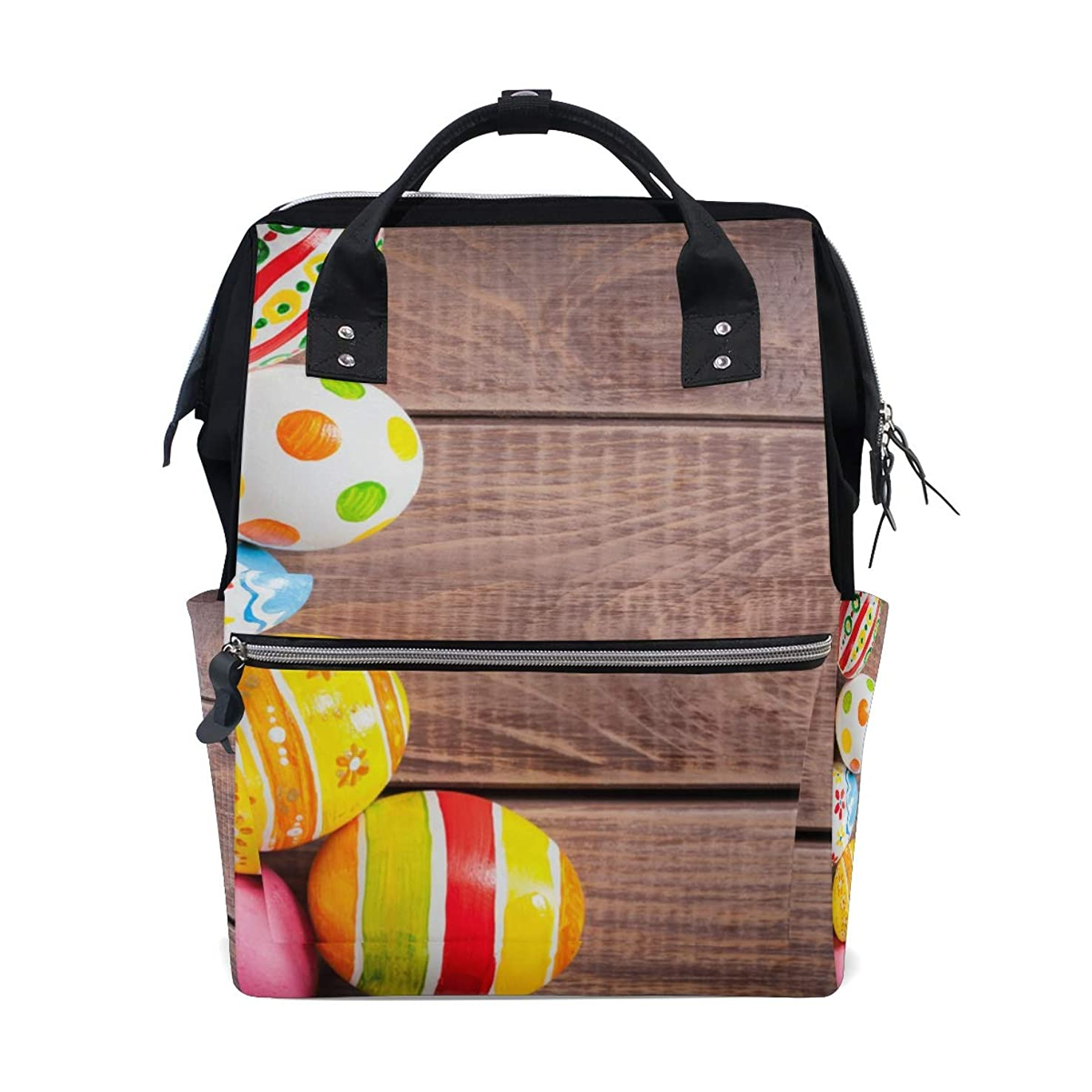 Colorful Easter Eggs Wooden School Backpack Large Capacity Mummy Bags Laptop Handbag Casual Travel Rucksack Satchel For Women Men Adult Teen Children