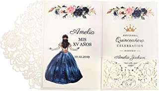 Doris Home 50pcs 4.7 x7 inch White Laser Cut Hollow Floral Wedding Invitations Cards with Envelopes for Sweet 16 Quinceañera Birthday Invites