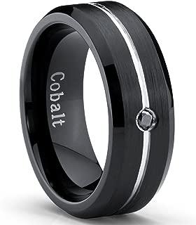 Two Tone Black Cobalt Men's Wedding Band Ring with 0.04 Real Black Diamond