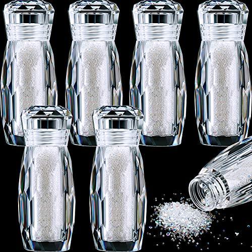 6 Flaschen Mikro Kaviar Perlen Mikro Pixie Perlen Mikro Nagel Perlen Kies Nagel Diamanten Stein AB Kristall Strass Bunte Nagel Dekorationen(AB Farbe)