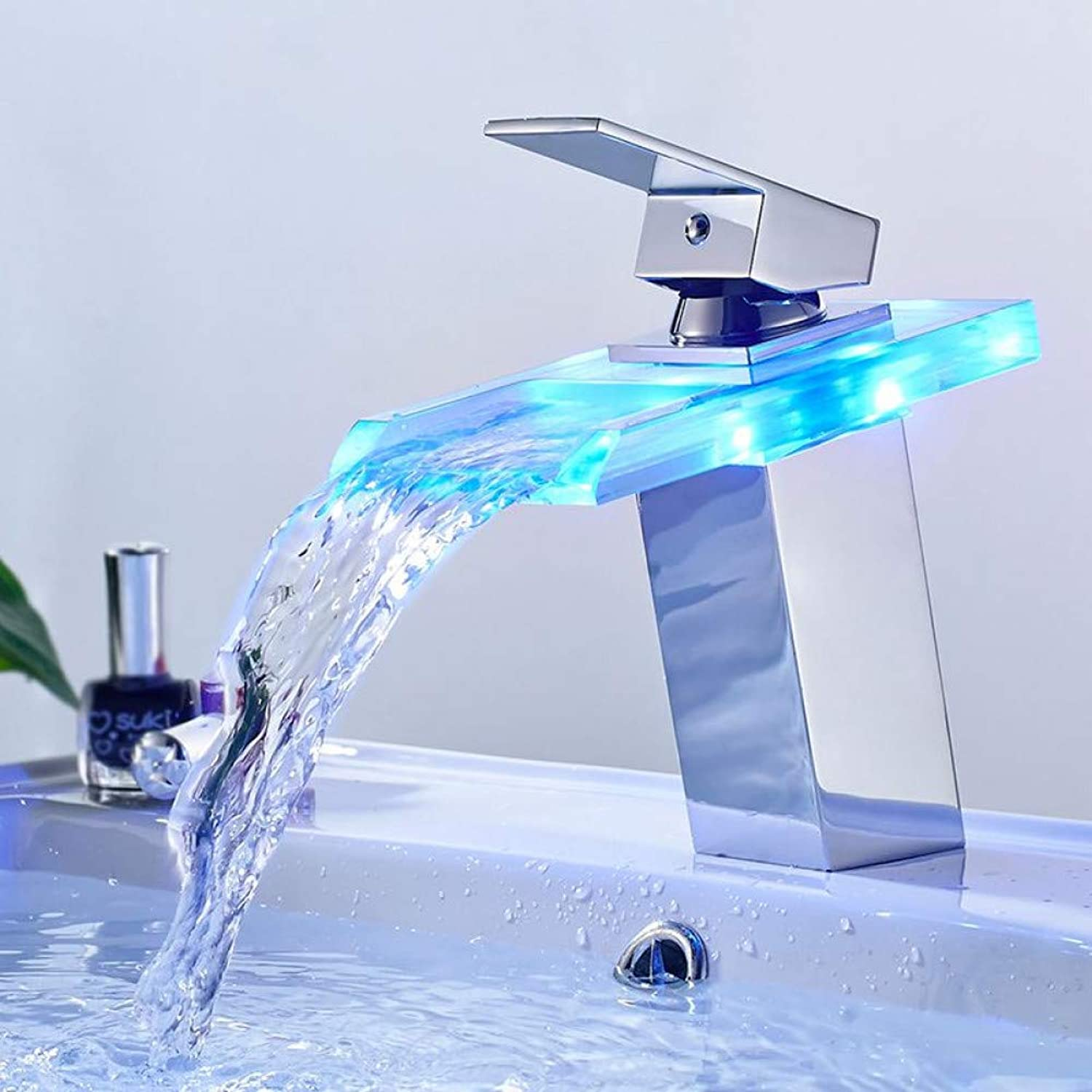 ZHFJGKR&ZL Tap Led Basin Faucet Brass Waterfall Temperature colors Change Bathroom Mixer Tap Deck Mounted Wash Sink Glass Taps