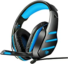 Beexcellent GM-3 Pro Wired Gaming Headset with Mic, LED Lights and Volume Control Stereo Over-Ear Bass Noise Cancelling, for Xbox One S/Xbox one/PS4/Tablet/Laptop/Cell Phone (Black Blue)
