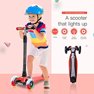 WonderView Kick Scooter for Kids 3 Wheel Scooter,4 Height Adjustable(2-14 Years) PU Wheels with Extra Wide Deck Best Gifts for Kids, Boys and Girls (Dark)