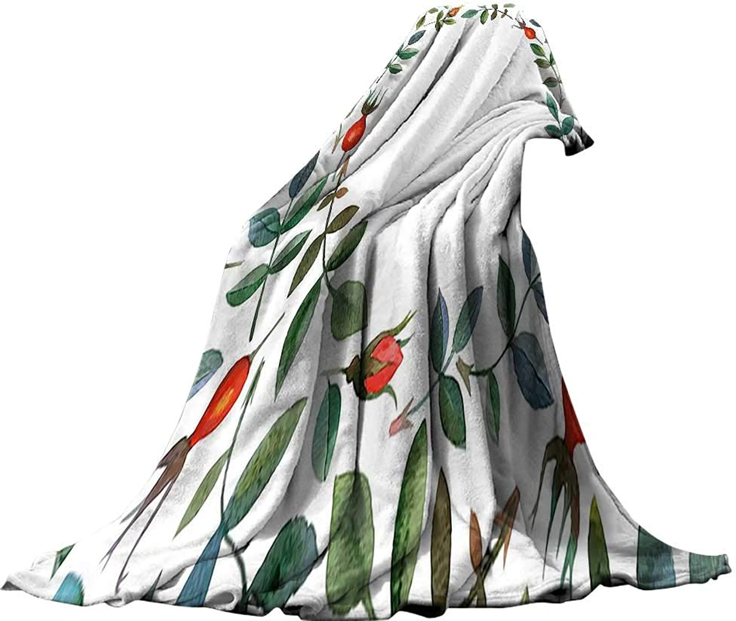 QINYANHome Lightweight Blanket (90 x70 ) Summer Quilt Comforter Floral Christmas Like Frame Image Buds Flowers Leaves Watercolor Vector Art Red Olive Green bluee Green.