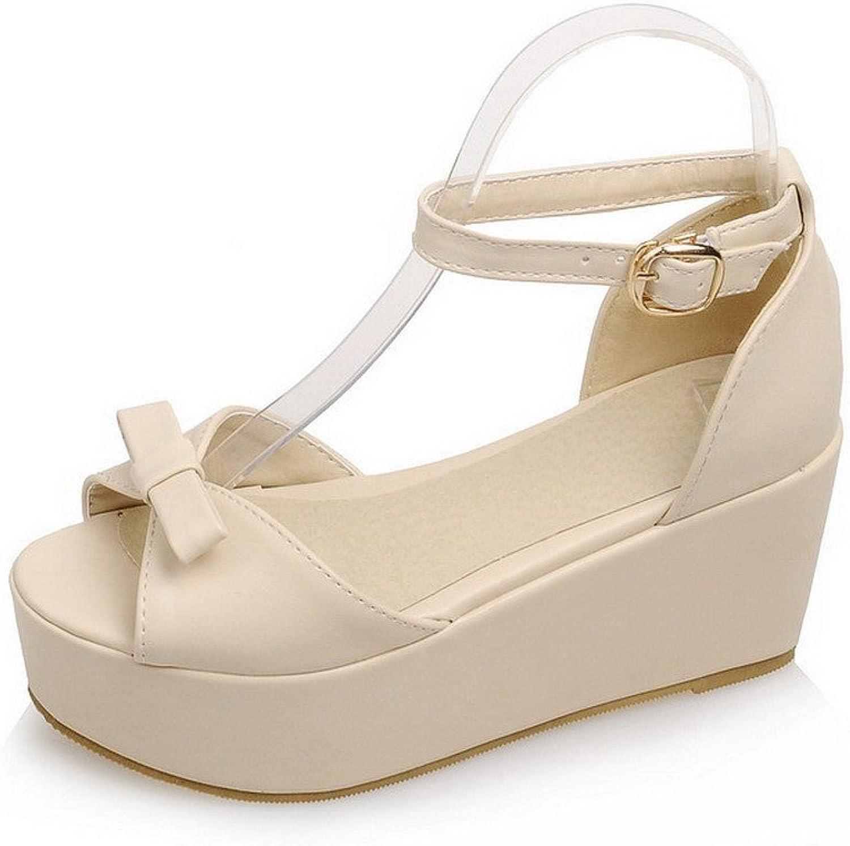 AllhqFashion Women's Buckle Open Toe High-Heels PU Solid Platforms & Wedges