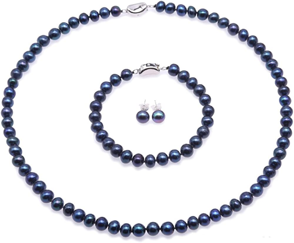 JYX Pearl Necklace Set 7-8mm Blue Freshwater Cultured Pearl Necklace Bracelet and Earrings Jewelry Set