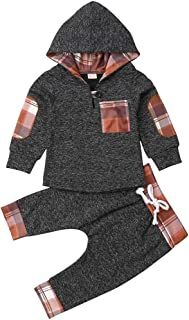 Toddler Infant Baby Boys Dinosaur Long Sleeve Hoodie Tops Sweatsuit Pants Outfit Set Gray