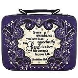 Western Style Embroidery Scripture Cross Country Women Rhinestone Bible Cover Book Case Crossbody Handbag (#2 Purple)