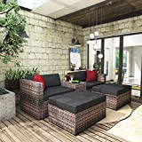 None/Brand 5 Pieces Patio Furniture Wicker Sofa Set All Weather Rattan Outdoor Sectional Conversation Couch with...