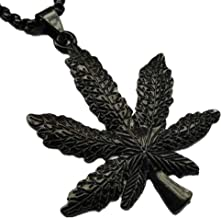 Daobg-stable Men Women Iced Out Weed Marijuana Leaf Pot Pendant Necklace Chain