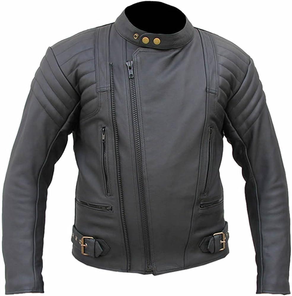 Sleekhides Men's Genuine Leather Motorcycle Brando Style Jacket CE Armor Internal Protection