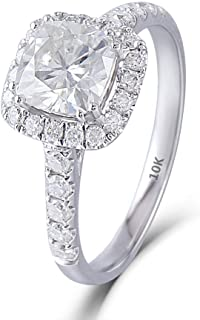 DovEggs Solid 10K White Gold Center 1ct 6X6mm G-H-I Color Cushion Cut Moissanite Halo Engagement Ring with Accents