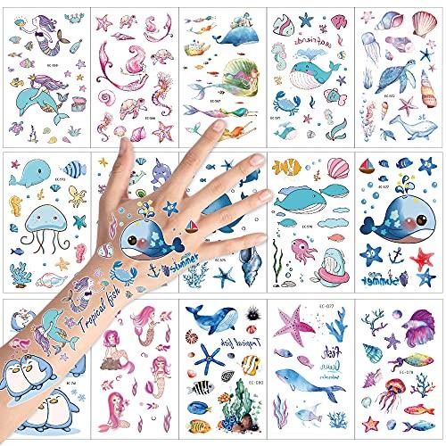Konsait Kinder Tattoos Set, 15 Blatt Fische / Delfine/ Meerjungfrauen Ozean Motive Kinder Spielen Temporary Tattoos für Mädchen Jungen Kindergeburtstag Mitgebsel