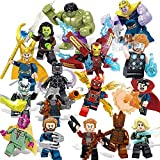 16 Pieces Super Heroes Set with Accessories Building Blocks The Avengers Action Figures Iron Man Captain America Toy Gift Best Gift for Kids